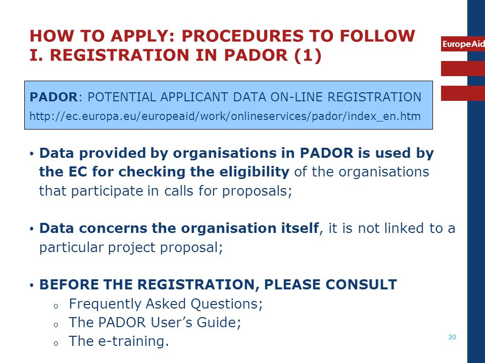 HOW TO APPLY: PROCEDURES TO FOLLOW I. REGISTRATION IN PADOR (1)