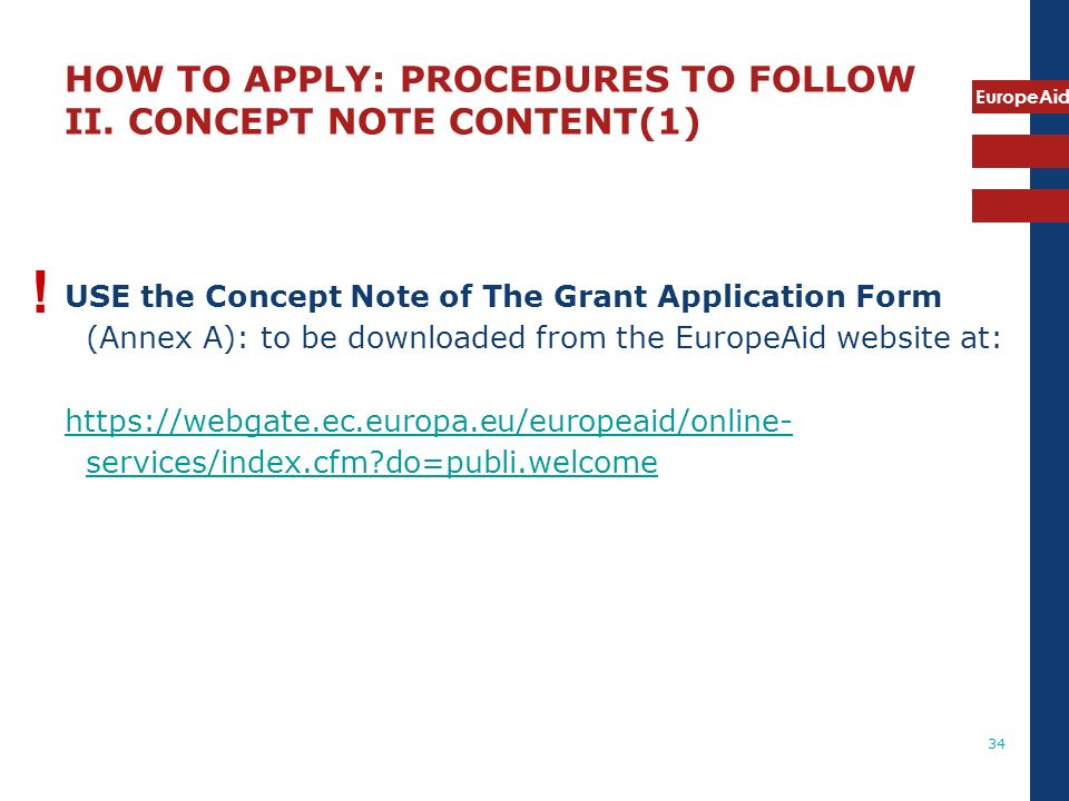 HOW TO APPLY: PROCEDURES TO FOLLOW II. CONCEPT NOTE CONTENT(1)