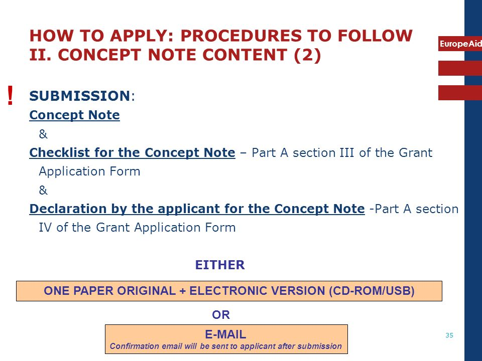 HOW TO APPLY: PROCEDURES TO FOLLOW II. CONCEPT NOTE CONTENT (2)