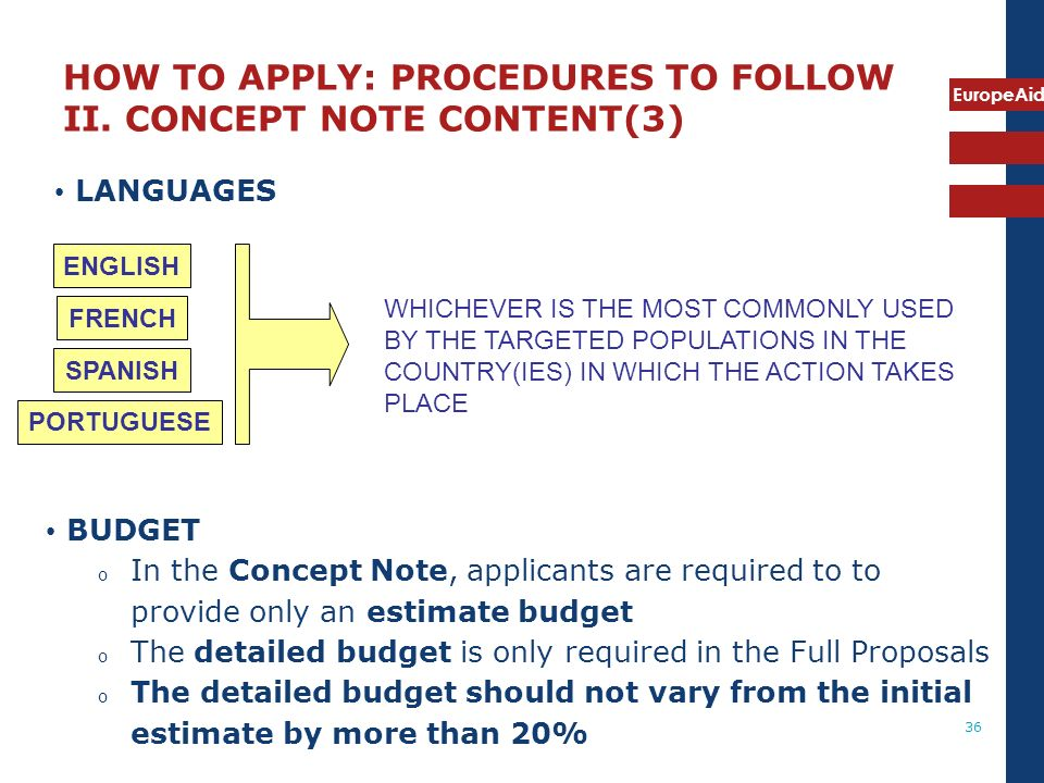 HOW TO APPLY: PROCEDURES TO FOLLOW II. CONCEPT NOTE CONTENT(3)