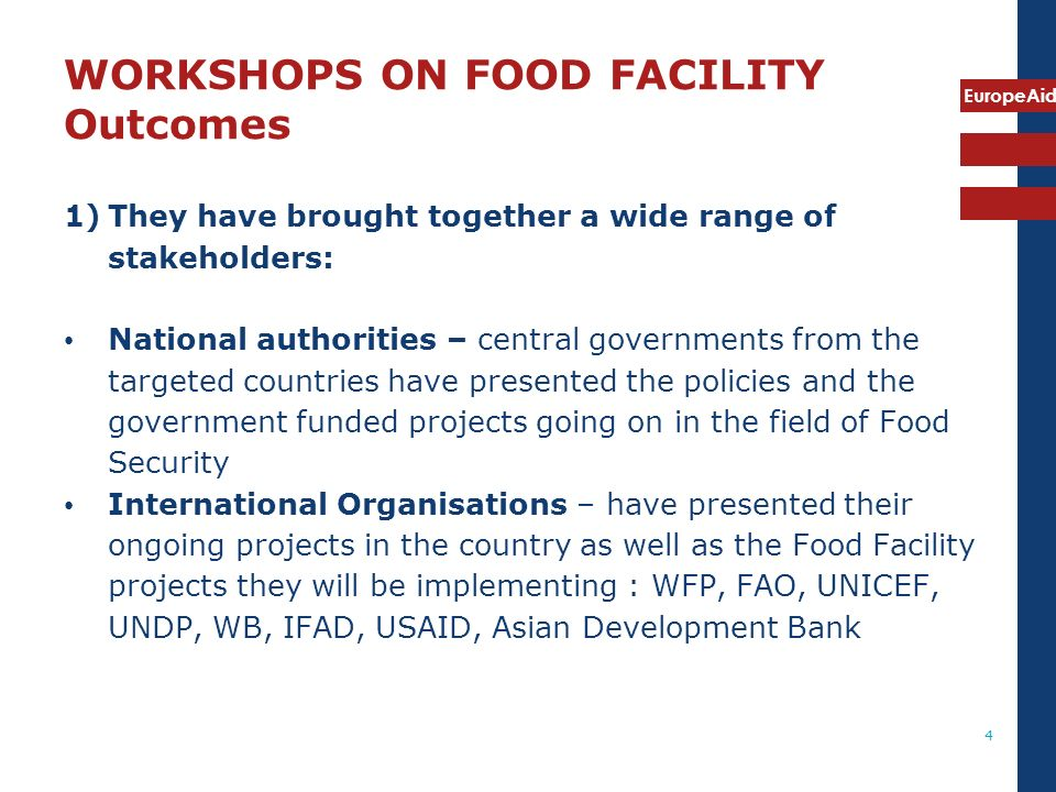 WORKSHOPS ON FOOD FACILITY Outcomes