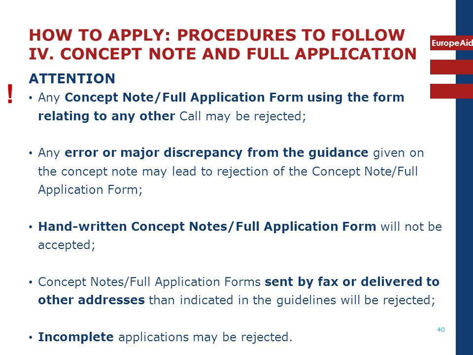 HOW TO APPLY: PROCEDURES TO FOLLOW IV
