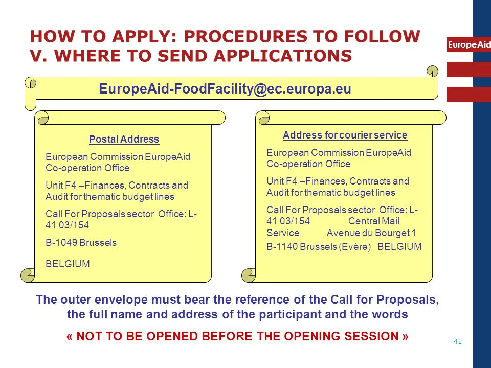 HOW TO APPLY: PROCEDURES TO FOLLOW V. WHERE TO SEND APPLICATIONS