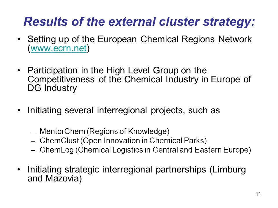 Results of the external cluster strategy: