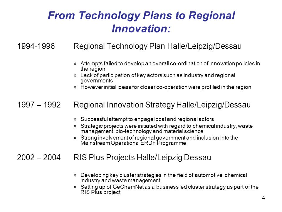 From Technology Plans to Regional Innovation: