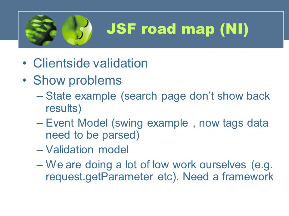 JSF road map (NI) Clientside validation Show problems