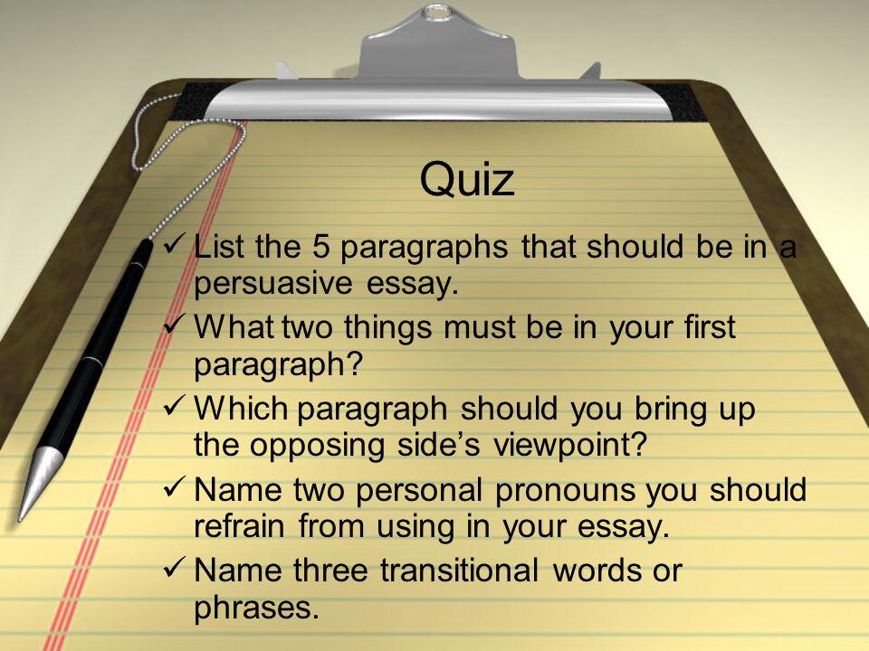 5 paragraph essay quiz