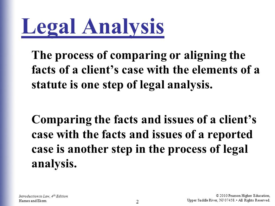Using The Law Analysis And Legal Writing  Ppt Video Online Download