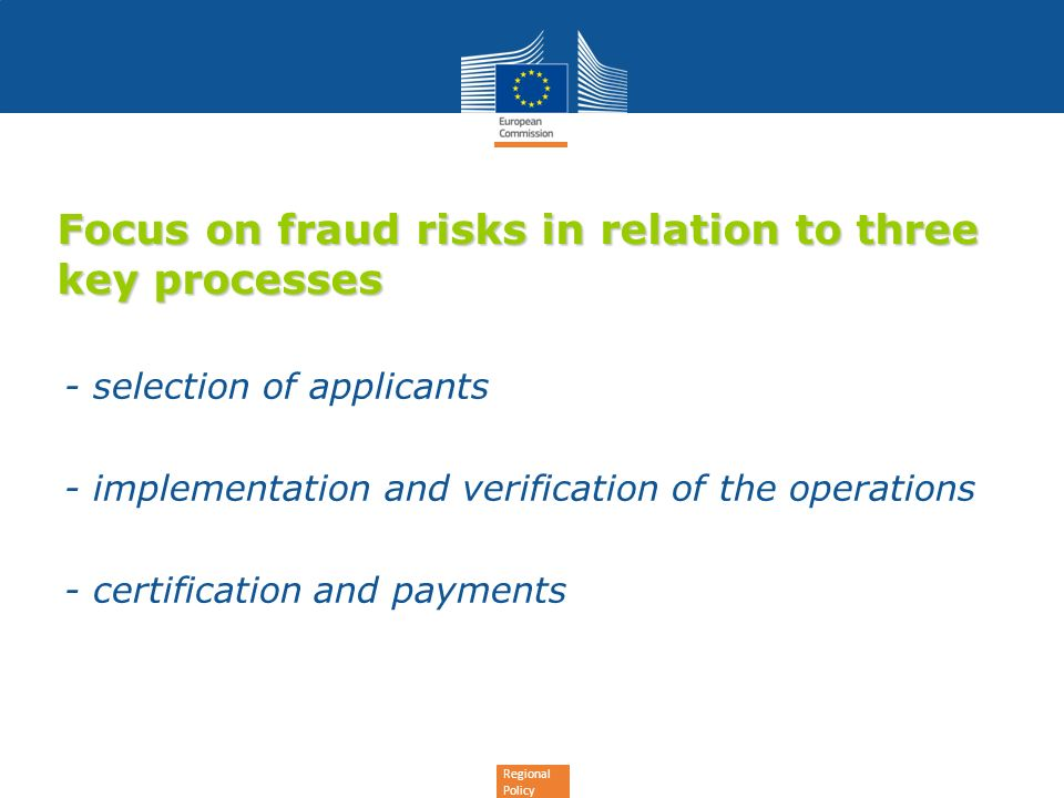 Focus on fraud risks in relation to three key processes