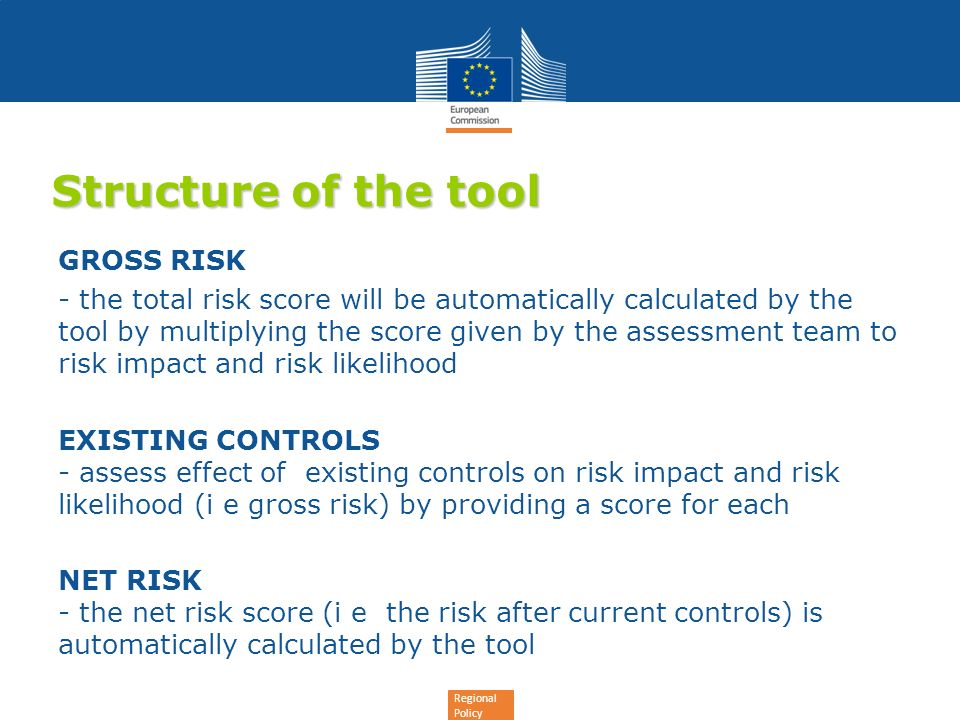 Structure of the tool GROSS RISK