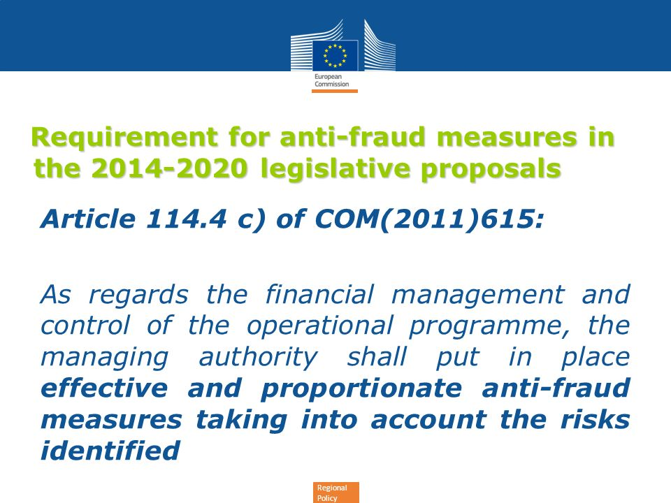Requirement for anti-fraud measures in the 2014-2020 legislative proposals