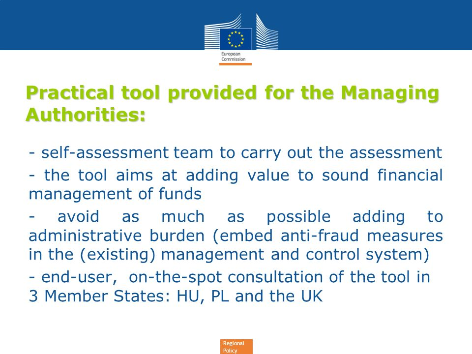 Practical tool provided for the Managing Authorities: