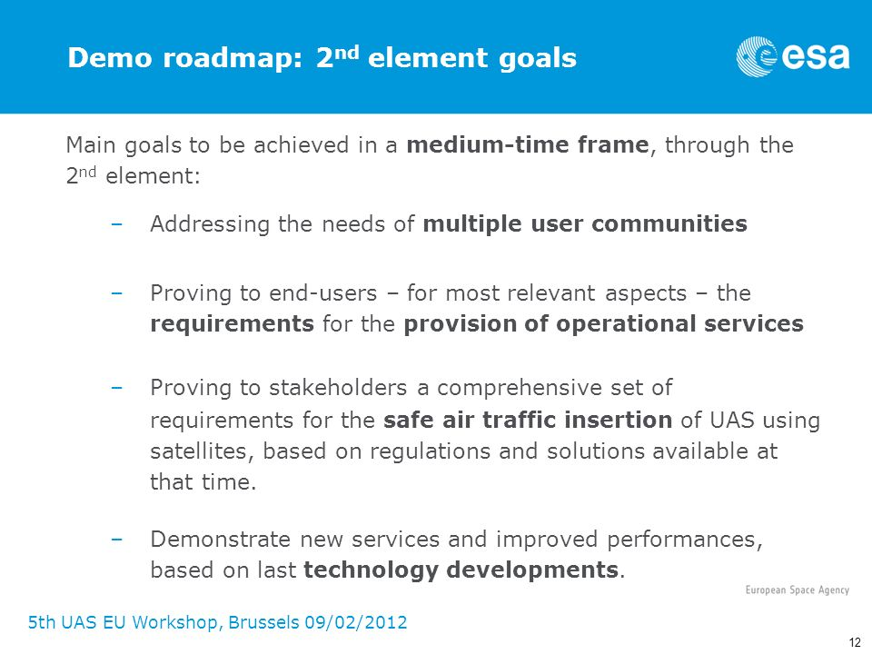 Demo roadmap: 2nd element goals