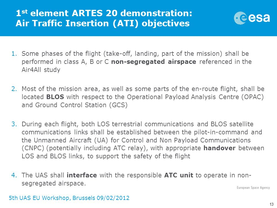 1st element ARTES 20 demonstration: Air Traffic Insertion (ATI) objectives