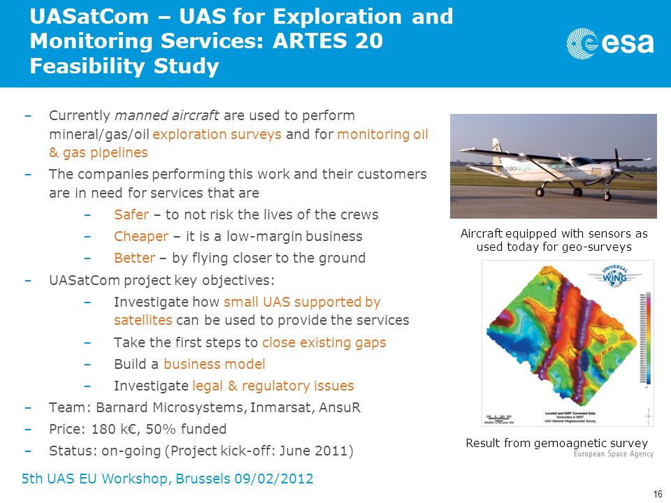 UASatCom – UAS for Exploration and Monitoring Services: ARTES 20 Feasibility Study