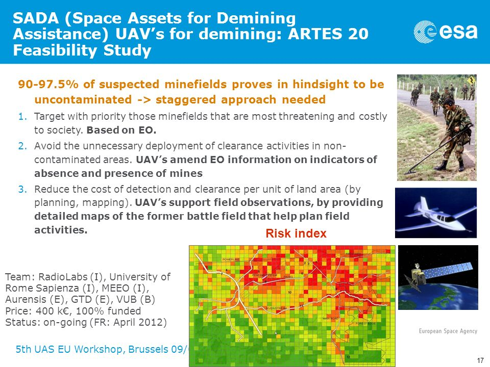 SADA (Space Assets for Demining Assistance) UAV's for demining: ARTES 20 Feasibility Study