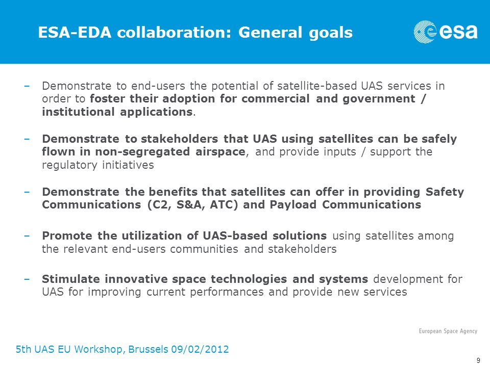 ESA-EDA collaboration: General goals
