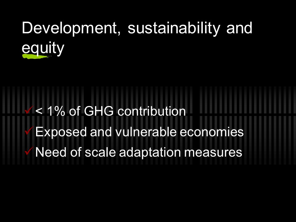 Development, sustainability and equity