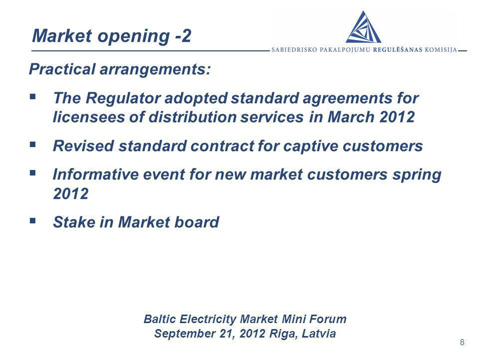 Market opening -2 Practical arrangements: