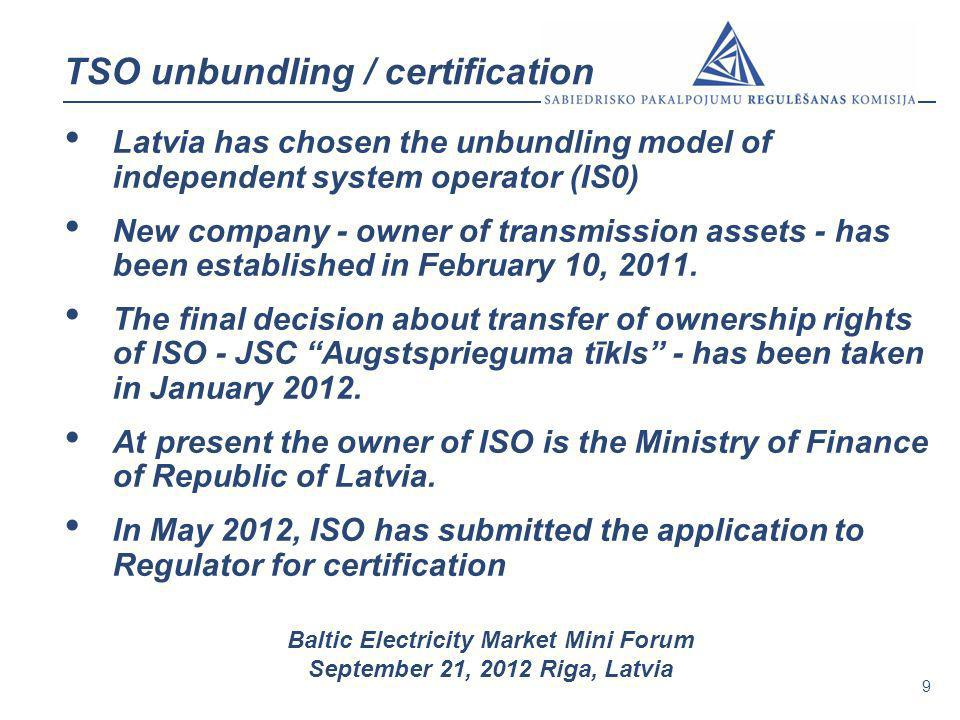 TSO unbundling / certification