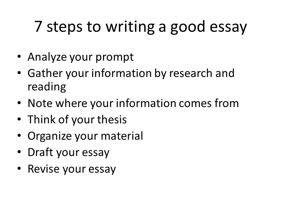 steps to write good essay