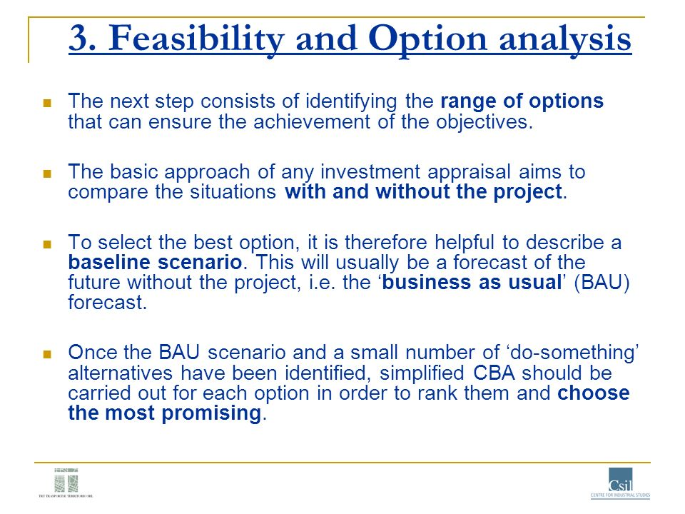 3. Feasibility and Option analysis