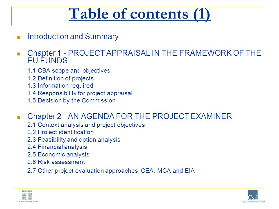 Table of contents (1) Introduction and Summary