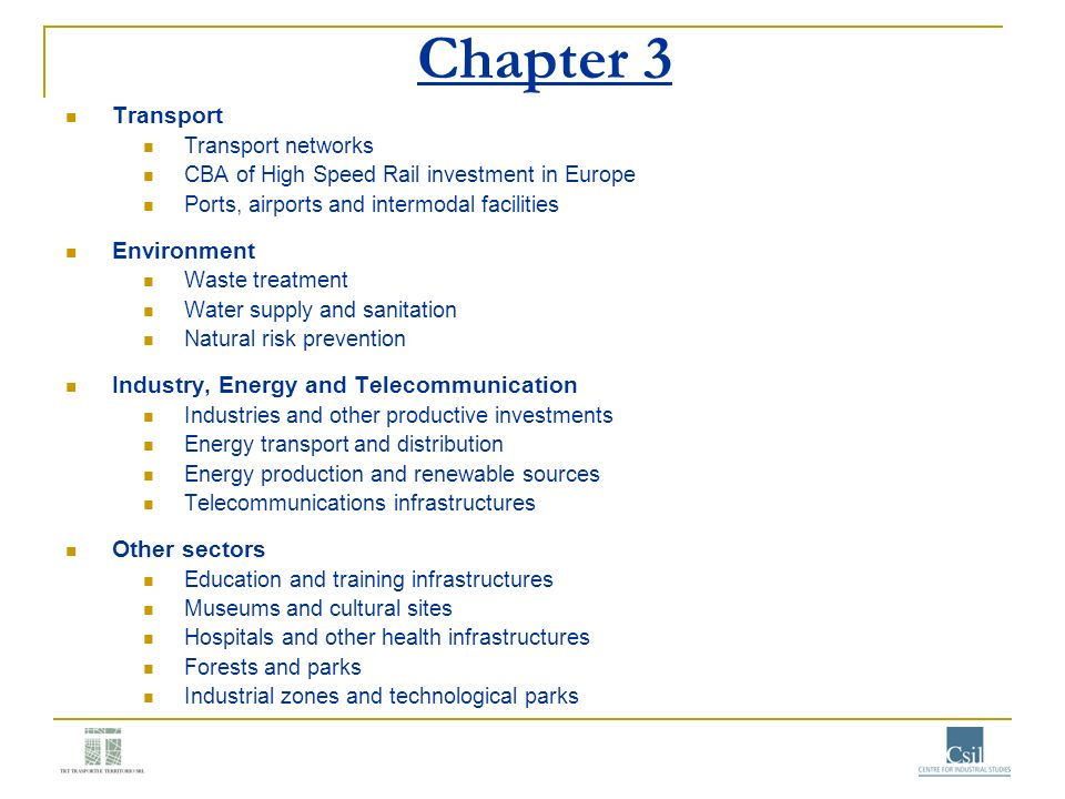 Chapter 3 Transport Environment Industry, Energy and Telecommunication