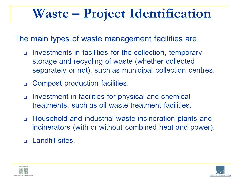 Waste – Project Identification