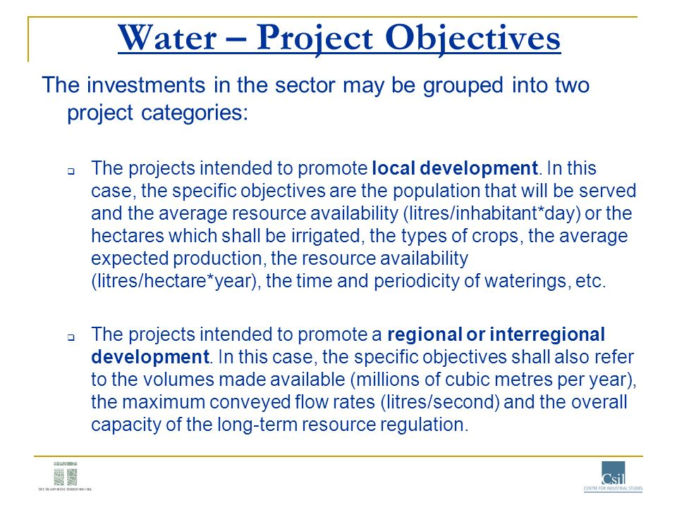 Water – Project Objectives