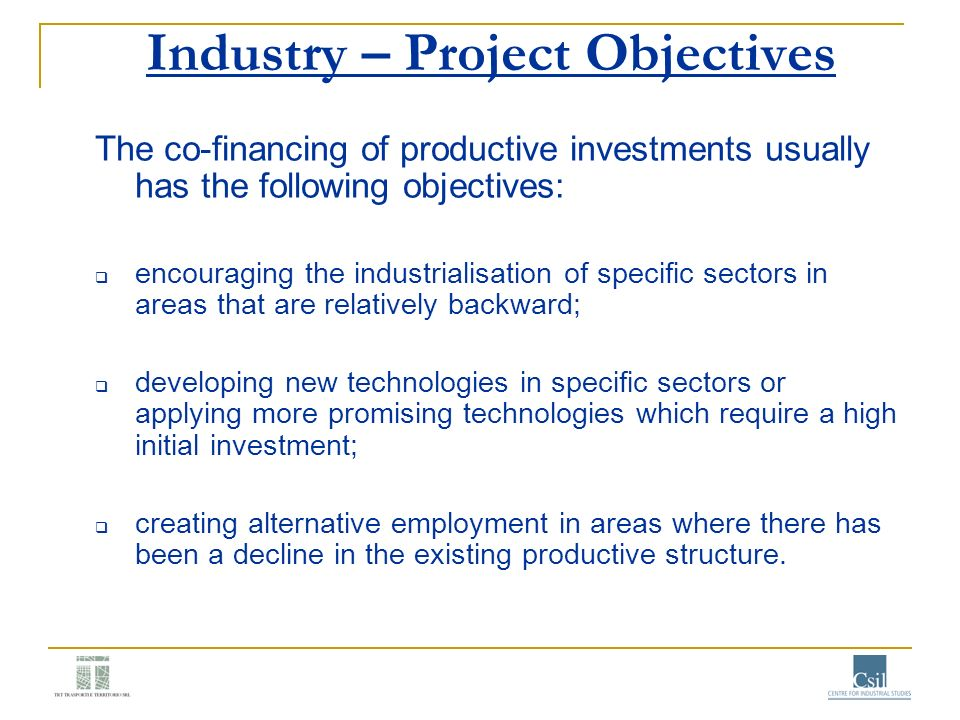 Industry – Project Objectives