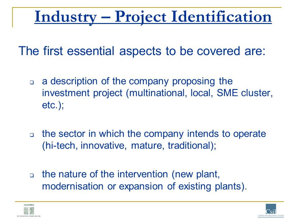 Industry – Project Identification