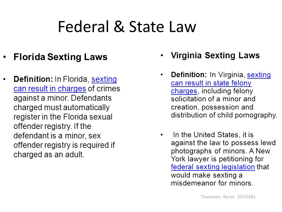Law on hookup a minor in florida