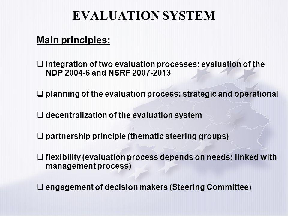 EVALUATION SYSTEM Main principles: