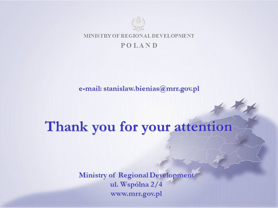 MINISTRY OF REGIONAL DEVELOPMENT P O L A N D