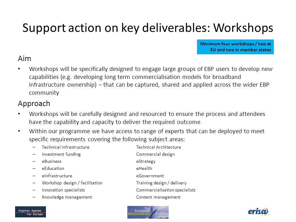 Support action on key deliverables: Workshops