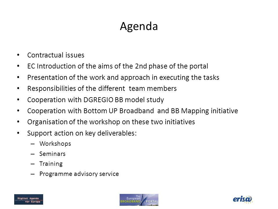 Agenda Contractual issues
