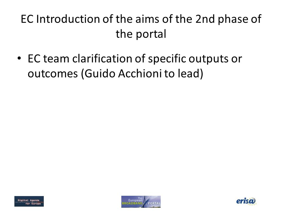 EC Introduction of the aims of the 2nd phase of the portal