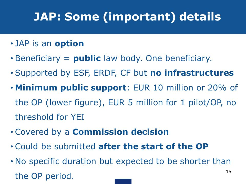 JAP: Some (important) details