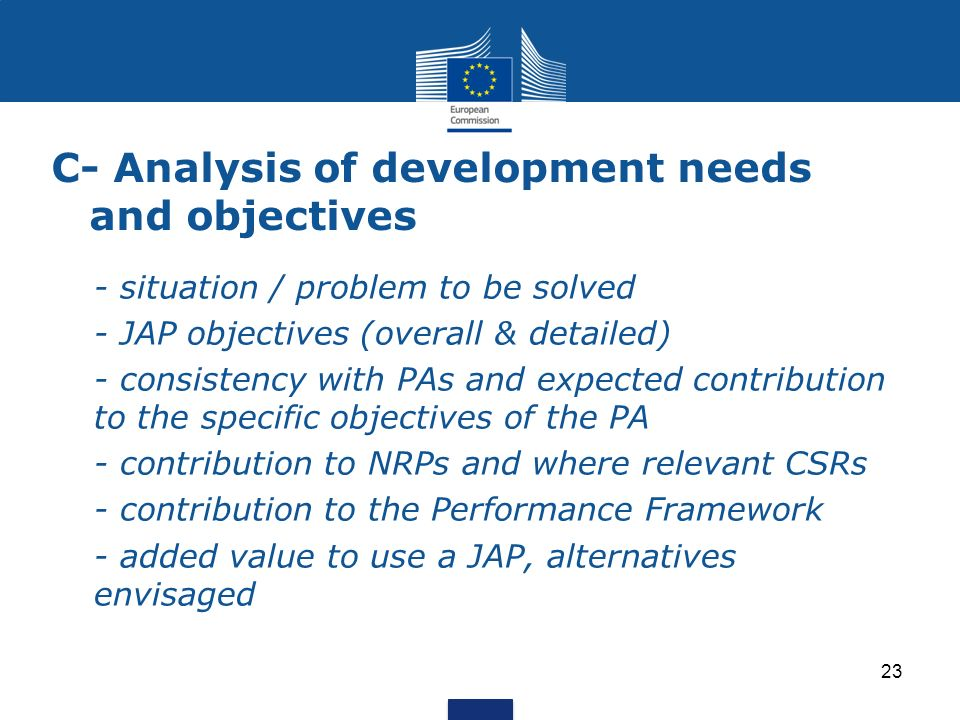 C- Analysis of development needs and objectives