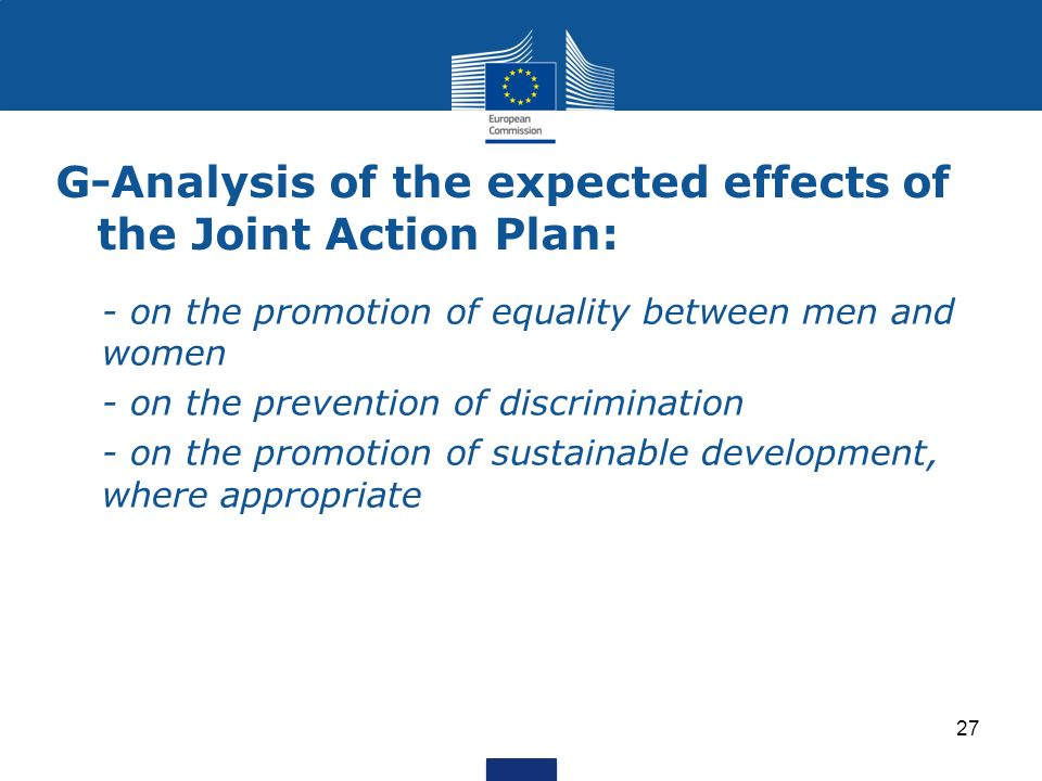 G-Analysis of the expected effects of the Joint Action Plan: