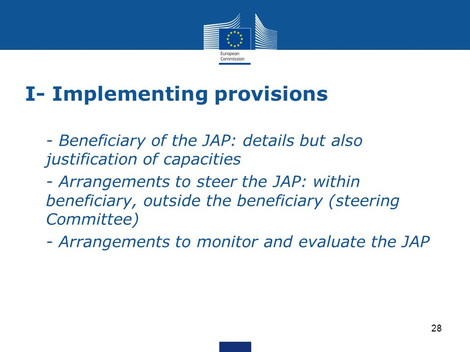 I- Implementing provisions