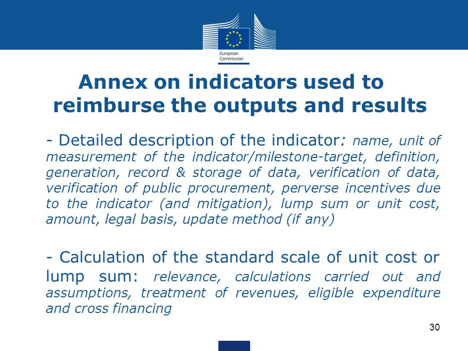 Annex on indicators used to reimburse the outputs and results