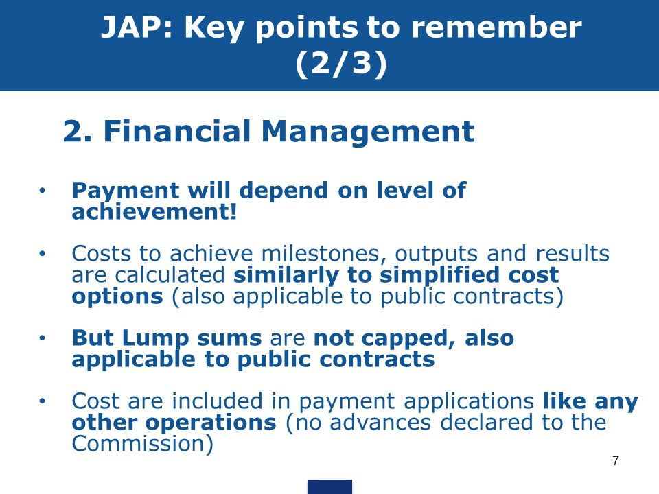 JAP: Key points to remember (2/3)