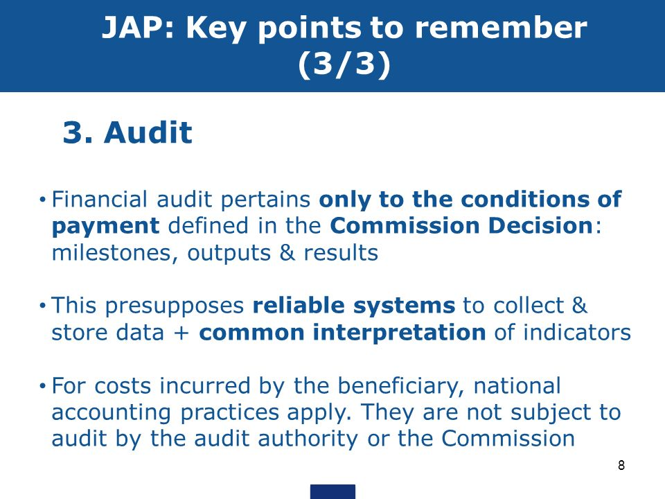 JAP: Key points to remember (3/3)