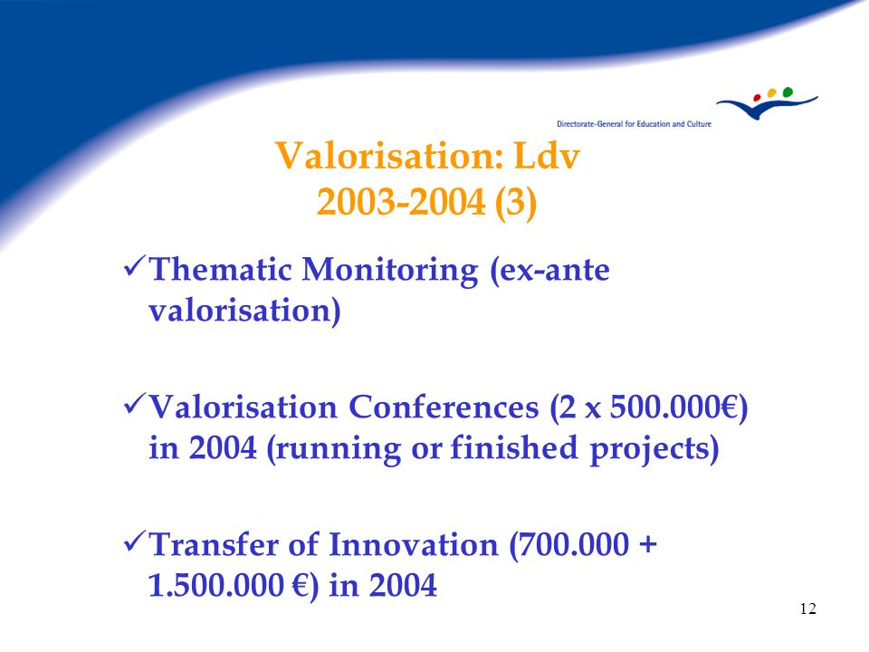 Valorisation: Ldv 2003-2004 (3) Thematic Monitoring (ex-ante valorisation)