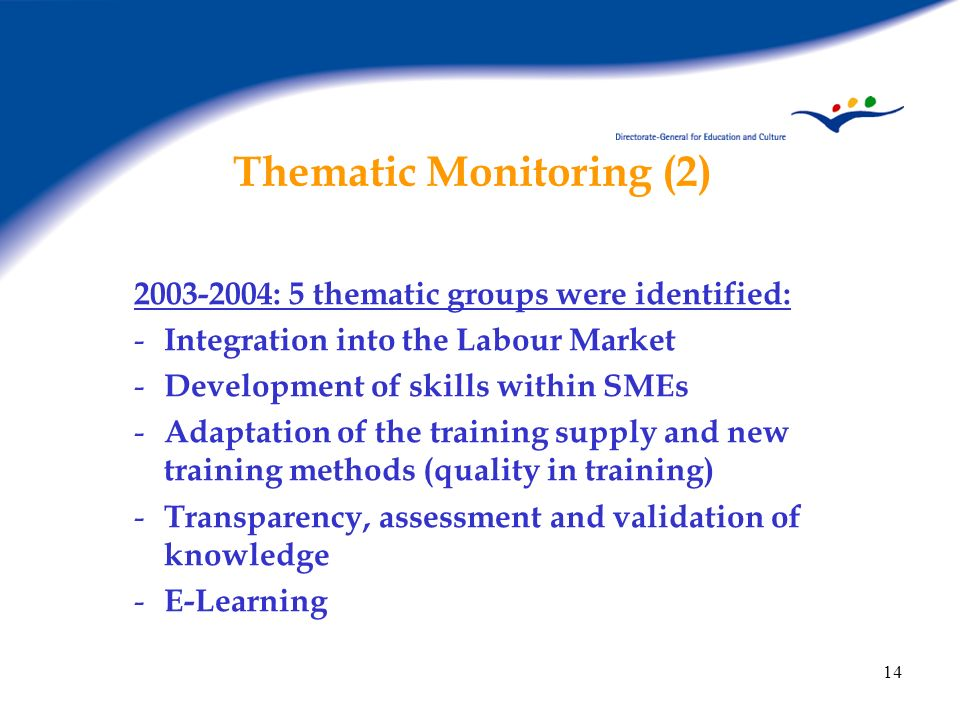 Thematic Monitoring (2)