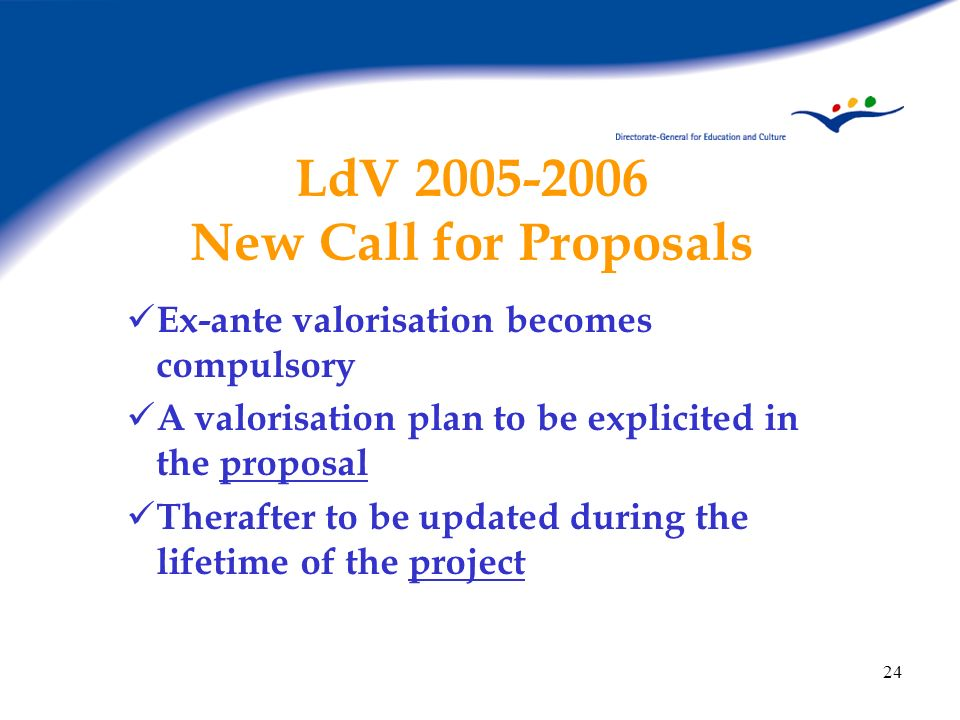 LdV New Call for Proposals