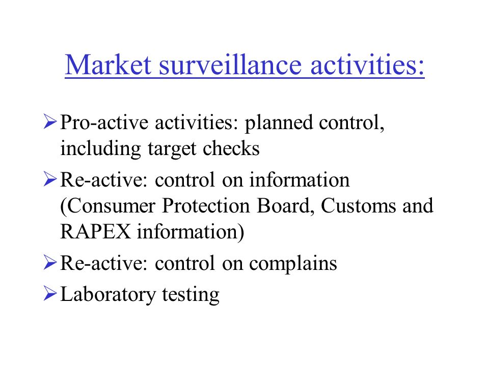 Market surveillance activities: