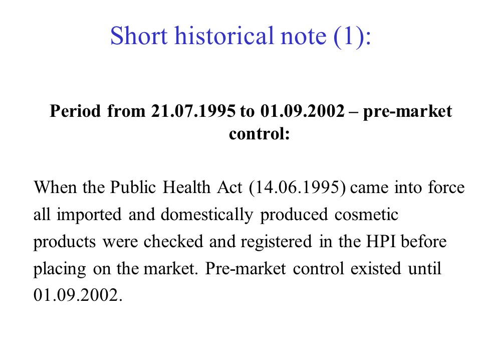 Short historical note (1):